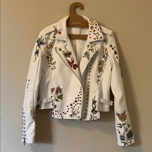 Blank NYC Embroidered Floral Moto Jacket